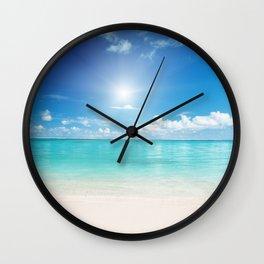 Beach Sun Clouds Ocean Blues Sunshine Waves Seaside Wall Clock