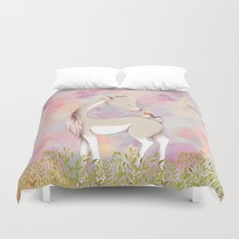 Baby Deer With Bird Nursery Decor Watercolor Painting Duvet Cover