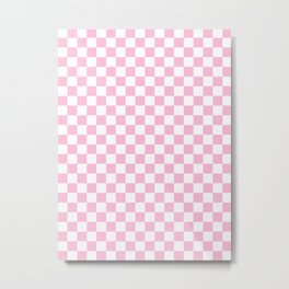 Small Checkered - White and Cotton Candy Pink Metal Print