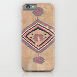 Blush Tan and Pink Medallion // 19th Century Authentic Colorful Baby Blue Cowboy Accent Pattern iPhone Case
