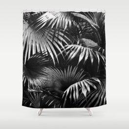 Tropical Botanic Jungle Garden Palm Leaf Black White Shower Curtain