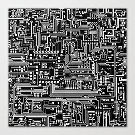 Circuit Board on Black Canvas Print