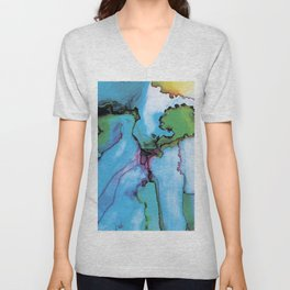 Blue cian abstract Unisex V-Neck