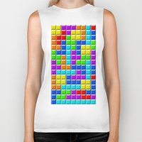 tetris Biker Tanks featuring Tetris by Rebekhaart