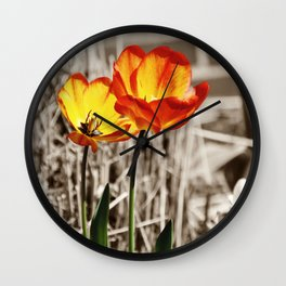 Tulips with Sepia Background Wall Clock