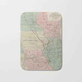 Vintage Midwestern United States Railroad Map Bath Mat