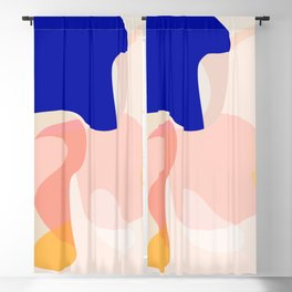 Modern Abstract Peach Pink Navy Blue Yellow Pattern Blackout Curtain