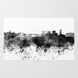 Luxembourg skyline in black watercolor Rug