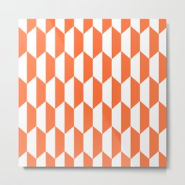 Classic Trapezoid Pattern 224 Orange Metal Print