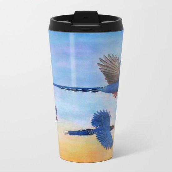 Taiwan Blue Magpies (2) Metal Travel Mug