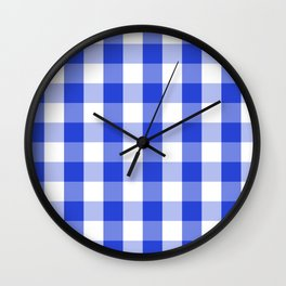 Blue and white Tartan (Scotch) Pattern Wall Clock
