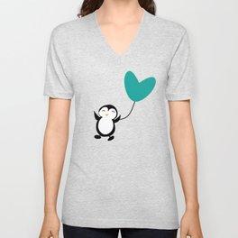 Penguin in love Blue Unisex V-Neck