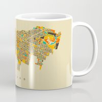 chicago map Mugs featuring Chicago by Nicksman