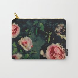 Big Pink Roses and Green Leaves Graphic Carry-All Pouch