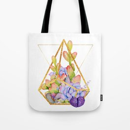 Succulent Geometry gold wire geometric frames Tote Bag