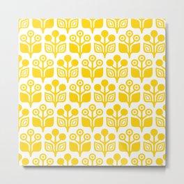 Mid Century Garden Flower Pattern Yellow Metal Print