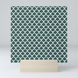 Scales (White & Dark Green Pattern) Mini Art Print