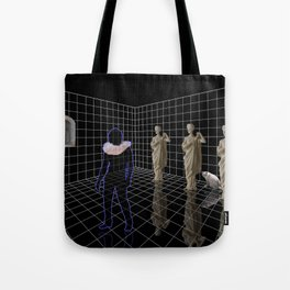 Man in a room with statues and cats Tote Bag