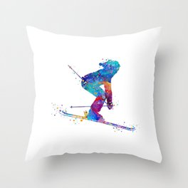 Girl Skiing Colorful Watercolor Winter Sports Art Throw Pillow