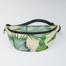 Green Tropics Leaves on Linen Fanny Pack