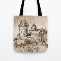 castle Tote Bags featuring Castle by Bunny Noir