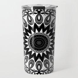 Black and wihte mandala pattern by Saribelle Travel Mug