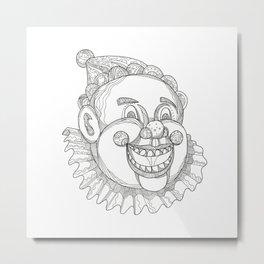 Vintage Circus Clown Head Doodle Metal Print