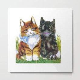 Vintage Kittens Metal Print