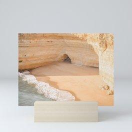 Brilliant Beach of Algarve Coast   Orange sand, aqua surf   travel photography to inspire   Saige Ashton Prints Mini Art Print
