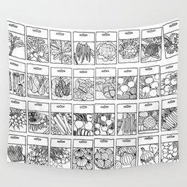 Veggie Seeds Patten - Line Art Wall Tapestry