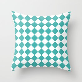 Diamonds - White and Verdigris Throw Pillow