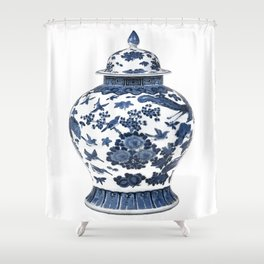 Blue & White Chinoiserie Porcelain Ginger Jar with Birds & Flowers Shower Curtain