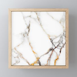 White gray and rose-gold faux marble Framed Mini Art Print