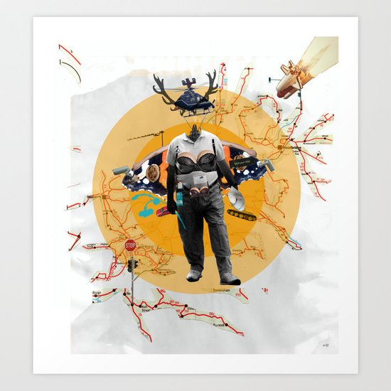 Man without head collage Art Print