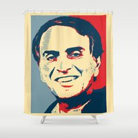 carl sagan Shower Curtains featuring Carl Sagan 'Hope' by cvrcak