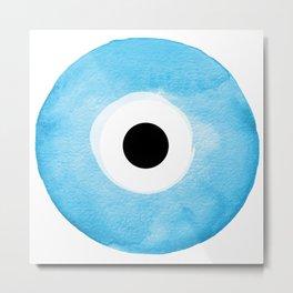 Watercolor Evil Eye Metal Print