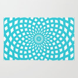 Classic Rosette Pattern in Stong Cyan and White Rug