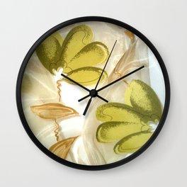 textile / flower / green  Wall Clock