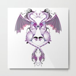 Purple Love Dragons Metal Print