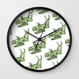 Triceratops Dinosaur Skulll & Skeleton Pattern Wall Clock