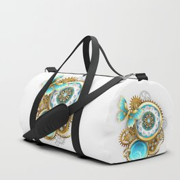 Clock and Gear with Butterfly ( Steampunk ) Duffle Bag