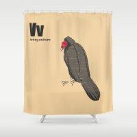 turkey Shower Curtains featuring turkey vulture by philip painter