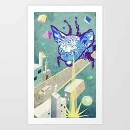 Laser Cat Art Print
