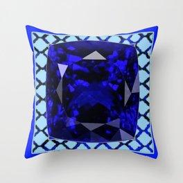 BLUE  SAPPHIRE DECEMBER GEM BIRTHSTONE MODERN ART Throw Pillow