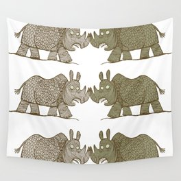 two Blind Rhinos Wall Tapestry