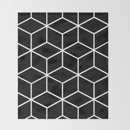 Black and White - Geometric Cube Design II Throw Blanket