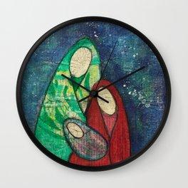 Folk Art Nativity Wall Clock