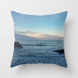 Sunset on  a black rock beach Throw Pillow