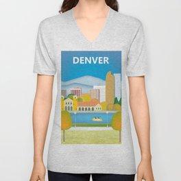 Denver, Colorado - Skyline Illustration by Loose Petals Unisex V-Neck