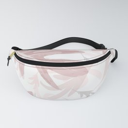 Trio Palm leaves, pink, palepink, white, tropical, pattern, society6 Fanny Pack